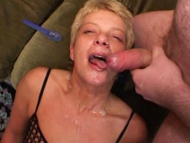 Whore eats a lot of ejaculate.